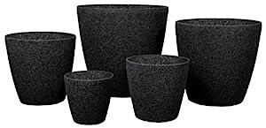 Stone Light SL Series 6-Piece Planter Set, Aged Black Sandstone
