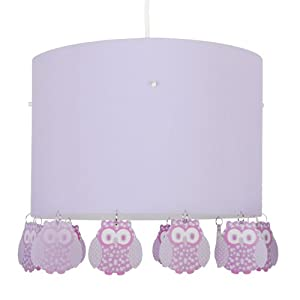 Large Modern Lilac Ceiling Pendant Light Shade with Owl Droplets