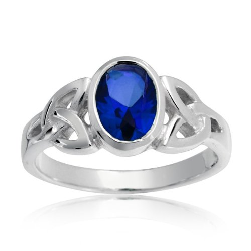 Bling Jewelry Blue Sapphire Color Triquetra Celtic Knot Ring 925 Silver