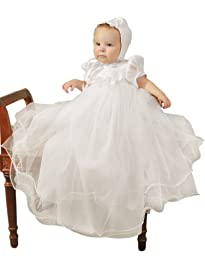 Shanna Newborn Girls Christening Baptism Blessing Gowns for Girls, Made in USA