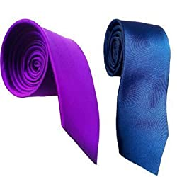 WSD men's narrow navy blue and royal blue microfiber tie pack of two (red)