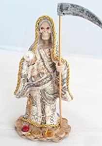 """Holy Death Santa Muerte Poly Resin Statue 5"""" in Money Fabric"""
