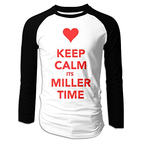 UglyBee Keep Calm And It's Miller Time Men's Long Sleeve Raglan Tee Color BlackSize XXL (Keep Calm And Make Cheese compare prices)