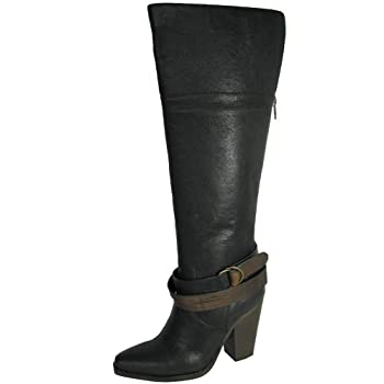 Brand: Steve MaddenStyle Name: RockiieDepartment: WomenMaterials: Leather Upper, Man-made SoleWrap Around Buckle Strap At AnkleFull Length Zipper Down The BackShaft Height Measures Approx. 15.5