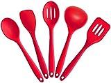 Joyoldelf 5 piezas de alta calidad de silicona cocina Hornear Set - espátulas, cucharas y Turner - resistente al calor Utensilios de Cocina