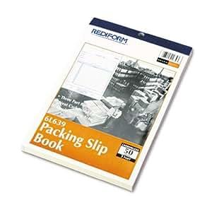 "REDIFORM Packing Slip, Carbonless Triplicate, 5.5 x 7.87"" 50 Sets per Book (6L639)"
