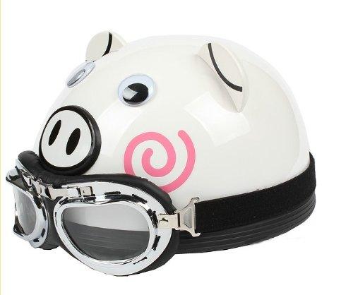 Bikman Motorcycle Motor Helmet Electric Cars Safety Bike Summer Helmet Cute Piggy (Transparent Color Lens, L(56-60Cm))