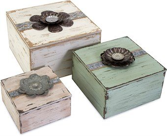 Imax Bennett Flower Top Decorative Boxes, Set Of 3 front-8995