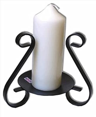 Candle Holder - Black Metal Abbey Pillar Candle Display Stand from Ancient Wisdom