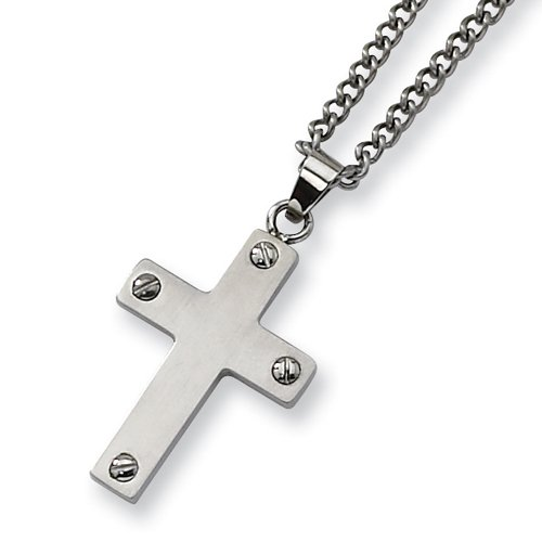 Chisel Brushed Stainless Steel Cross Necklace on 22 Inch Chain