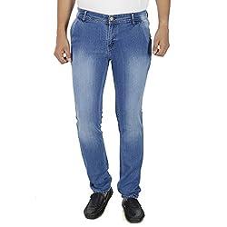 Stylox Mens Medium Blue Shaded Slim Fit Jeans