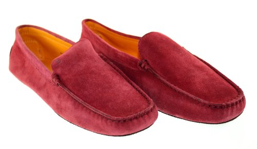 Rev TOD'S Women`s Pellame Off Red Suede Moccasins
