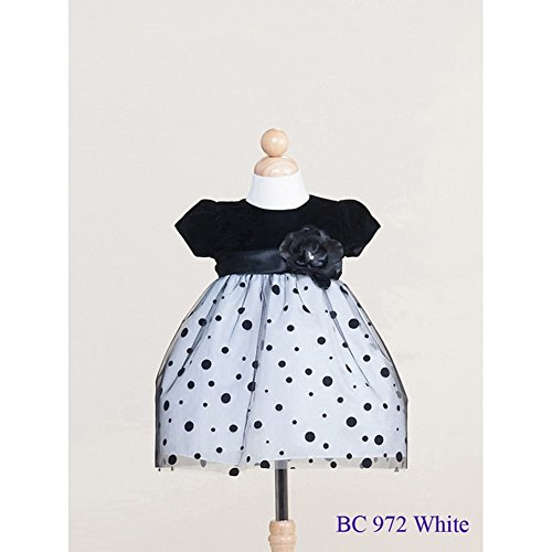 Crayon Kids Baby Girls White Polka Dots Sash Christmas Dress 24M front-840075
