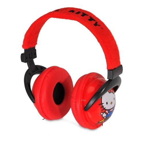 Hello Kitty Plush Full-Size Listening Headphones Signature - Red