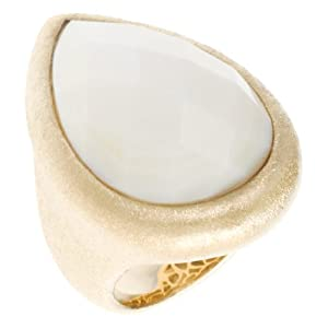 Rivka Friedman White Mother of Pearl Teardrop Ring - Size 7