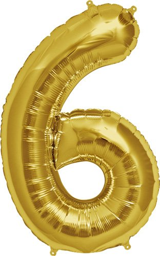 Number 6 - Gold Helium Foil Balloon - 34 inch