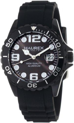 Haurex Italy Ink - Reloj analógico de mujer de cuarzo con correa de silicona negra