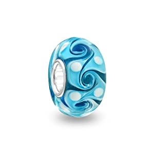 Bling Jewelry Turquoise Color Swirl 925 Sterling Silver Murano Glass Bead Troll Pandora Compatible