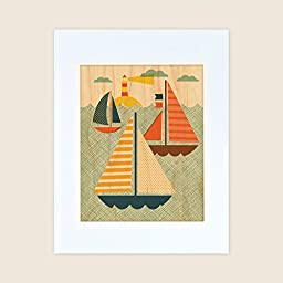 Petit Collage Unframed Print on Wood Wall Decor, Sea, Small
