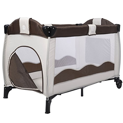 Giantex Portable Baby Crib Playpen Playard Pack Travel Infant Bassinet Bed (Coffee)