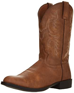 "Justin Boots Men's Farm & Ranch 11"" Boot Low Profile Round Toe Rubber Outsole,Crazy Tan Gaucho,6 D US"