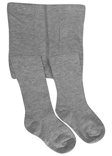 BEAR MUMl Baby Girls' Seamless Organic Cotton Tights Grey 1-2Year