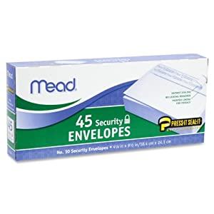 12 Pack Press-it Seal-it Security Envelope, 4 1/8 x 9 1/2, 20 lb, White, 45/Box by MEAD