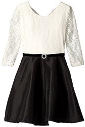 Amy Byer Big Girls\' 3/4 Sleeve Bow Back Lace Dress, Ivory, 12