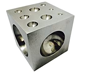 Dapping Block with Polished Steel Cavities 2 x 2 x 2