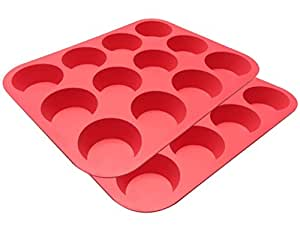 Clearance Sale - Ozera Silicone Muffin Pan / Cupcake Pan Cupcake Mold 12 Cup, Set of 2, Red