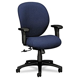 HON Products - HON - Unanimous 24-Hour Task Series Mid-Back Swivel/Tilt Chair, Navy Blue Fabric - Sold As 1 Each - Warranted for continuous 24-hour use. - Thick cushions provide extreme comfort. - Arms adjust to ensure a custom fit for people of all sizes. - Upholstery contains stain-resistant protection to maintain a clean appearance. -