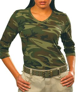 Ladies' Green Woodland Sleeve Camouflage V-Neck