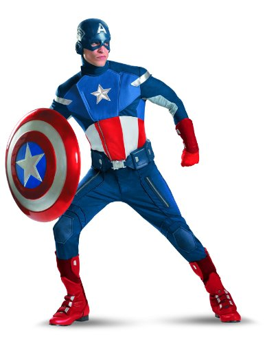 Disguise Captain America Avengers Theatrical Adult Costume, Red/White/Blue, X-Large