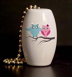 Retro Owl Couple Porcelain Fan / Light Pull