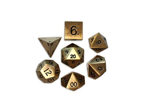 Set of 7 Bronze Dragon Scale Full Metal Polyhedral Dice by Norse Foundry | RPG Math Games DnD Pathfinder by Norse Foundry