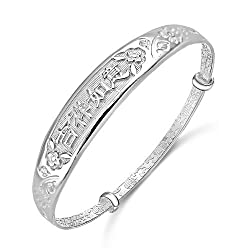 Merdia S999 Sterling Sliver Adjustable Chinese Style Lucky Bracelet with a Free Gift Box