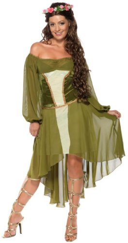 Smiffys Fair Maiden Dress with Hair Wreath (Green, Small)
