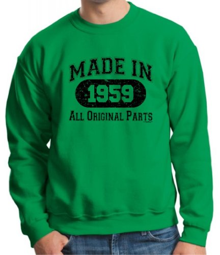Made 1959 All Original Birthday Gift Distressed Crewneck Sweatshirt 3Xl Green