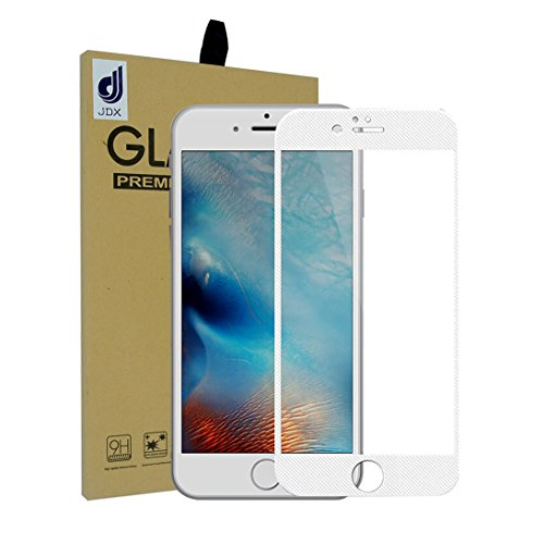 "iPhone 6 6S Screen Protector, J.D.X 0.2mm Carbon Fiber Protector Film 3D Full Cover Soft Curve Edge Ballistic Tempered Glass[3D Touch Compatible] for Apple iPhone 6 6S(4.7""Grid White)"