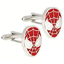 Spider Man Red and White Enamel Sterling Cufflinks