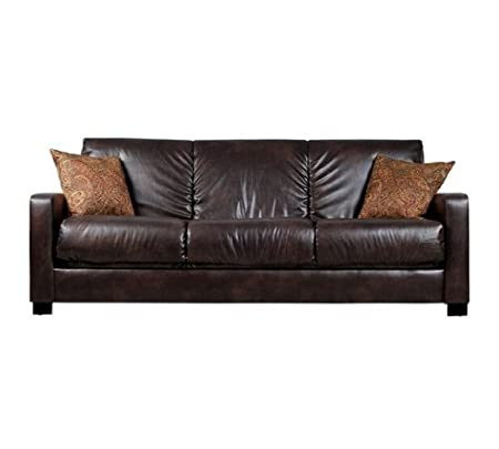 Convert-a-Couch Brown Renu Leather Futon Sofa Sleeper Comfortable Modern Contemporary Living Room Furniture