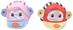 Kandyfloss Babies Caps - Pack of 2 Caps (MRHKFCAPS02, Multi-Colored, 3-6 Months)