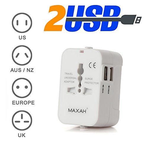 MAXAH® Nuovo-Adattatore Universale da Viaggio /Tutto in uno adattatore /All-in-One Universal World Wide/Travel Adapter con indicatori accensione e 2 USB--1 A (Bianco)