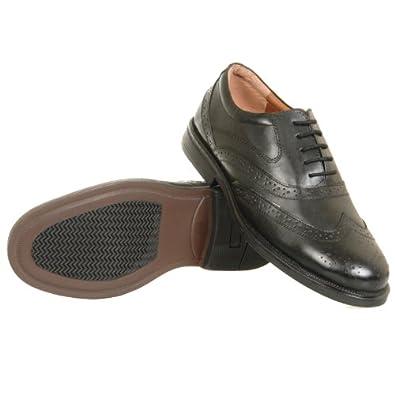 Mens Wide Fit Scimitar Formal Lace Up Brogues Shoes (7, Black)