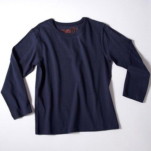 【感覚・触覚過敏症】【アトピー】【敏感肌】 子供服:長袖Tシャツ:ネイビー (L)