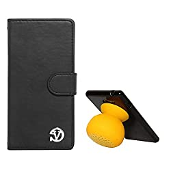 VanGoddy Premium Self Stand Mary Wallet Flip Book Cover Case for Asus Zenfone 5 (Black) + Bluetooth Suction Stand Speaker