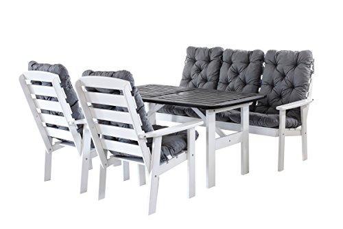 90400 9 teilig Garten Sitzgruppe Essgruppe Loungegruppe Gartenmöbel Essgarnitur Hanko Maxi mit Kissen, weiß / grau
