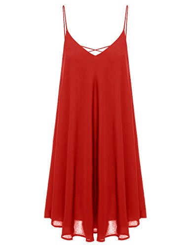 ROMWE Women's Summer Spaghetti Strap Sundress Sleeveless Beach Slip Dress Dark Red XL