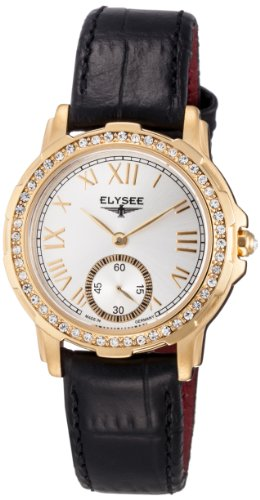 ELYSEE Made in Germany Melissa 22004 33mm Gold Plated Stainless Steel Case Black Calfskin Mineral Women's Watch