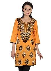 Sohniye Hand Sequenced Cotton Kurta-Orange Color